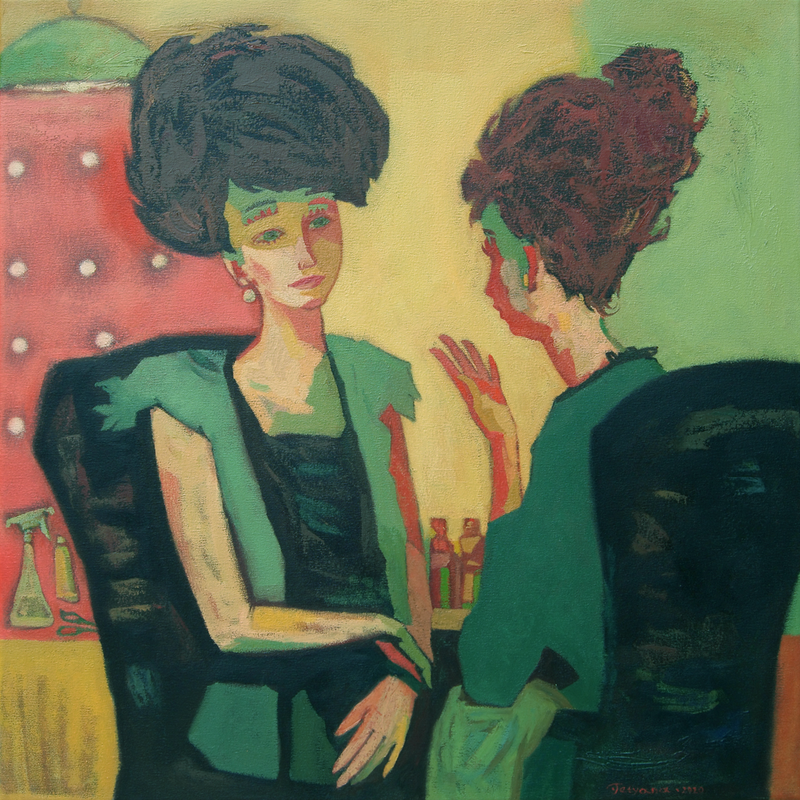 (CreativeWork) Hairdresser Salon by Tetyana Khytko. Oil Paint. Shop online at Bluethumb.