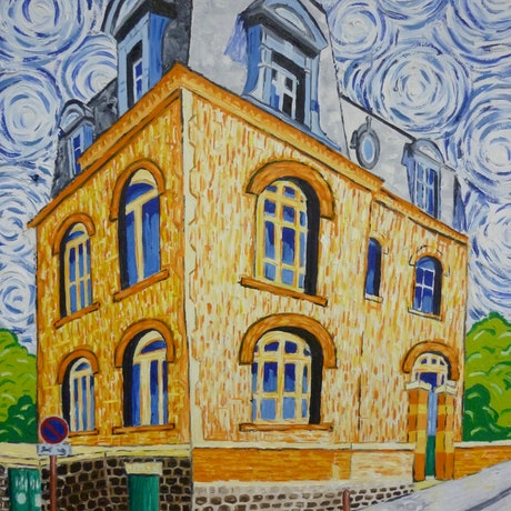 (CreativeWork) 'Montmartre Mansion Corner' by Nicholas Belchamber. Oil Paint. Shop online at Bluethumb.