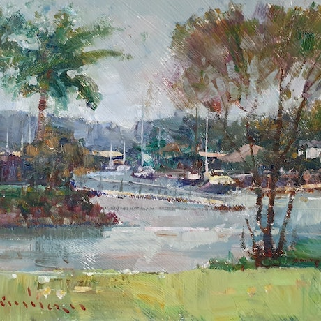 (CreativeWork) New Port in rain by Minhan Cho. Oil Paint. Shop online at Bluethumb.
