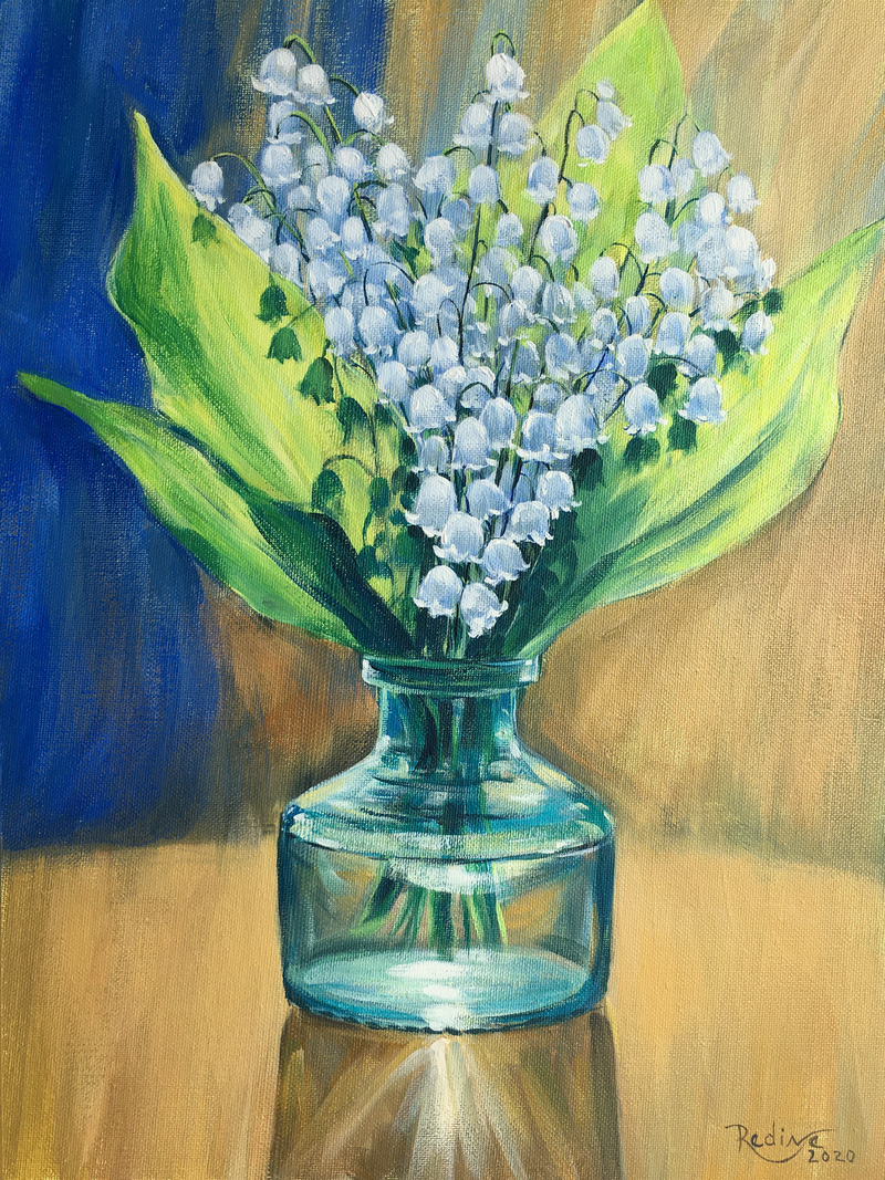 (CreativeWork) Lily of the Valley – framed original painting  by Irina Redine. Acrylic Paint. Shop online at Bluethumb.