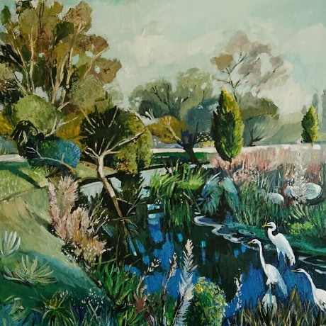 (CreativeWork) Australian  landscape - Summer Haze by Susan Trudinger. Acrylic Paint. Shop online at Bluethumb.