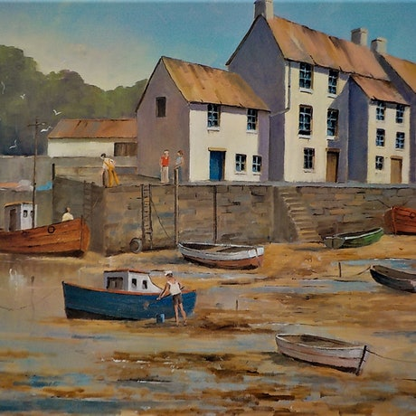 (CreativeWork) Polperro Harbour,Cornwall by Viv Gregory. Oil Paint. Shop online at Bluethumb.
