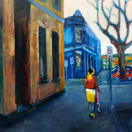 (CreativeWork) MELBOURNE - INNER CITY by Maureen Finck. Oil Paint. Shop online at Bluethumb.