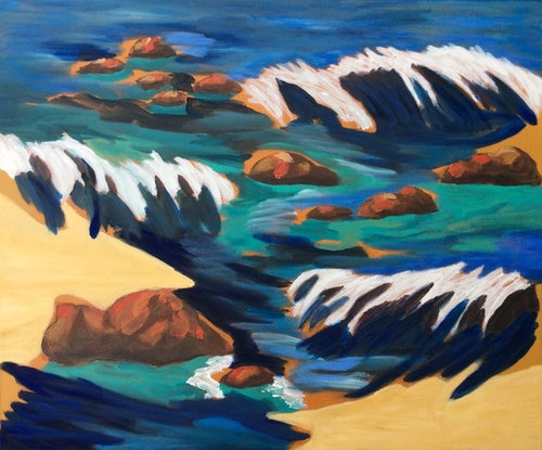 (CreativeWork) A Day at the Beach by Kathy Best. Acrylic Paint. Shop online at Bluethumb.