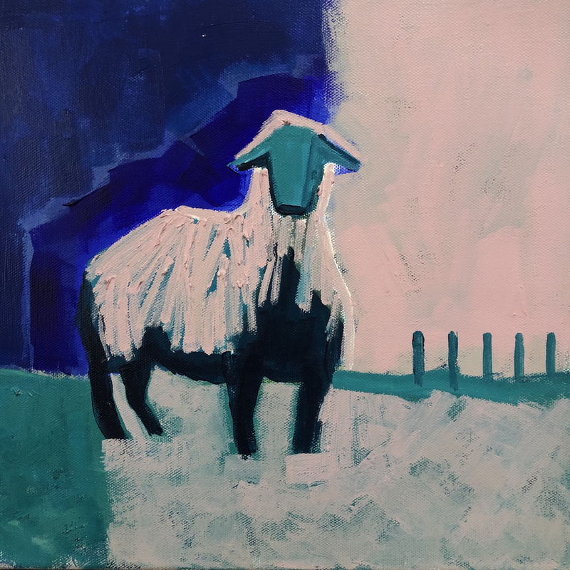 (CreativeWork) Looking at Ewe by Margo Carlon. Acrylic Paint. Shop online at Bluethumb.