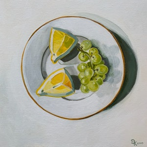 (CreativeWork) Grapes With Lemon by Dominika Keller. #<Filter:0x00005562396e70f8>. Shop online at Bluethumb.