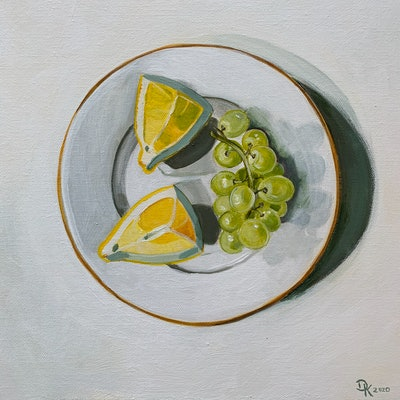 (CreativeWork) Grapes With Lemon by Dominika Keller. #<Filter:0x0000562f8845bf10>. Shop online at Bluethumb.