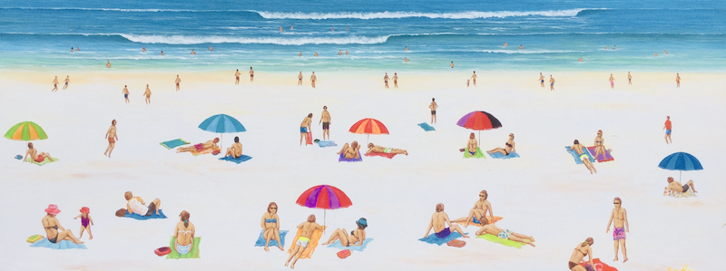 (CreativeWork) Just another Day enjoying  the  beach by Mark Sinclair. Acrylic Paint. Shop online at Bluethumb.