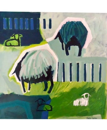 (CreativeWork) Lambs are Resting  by Margo Carlon. Acrylic Paint. Shop online at Bluethumb.