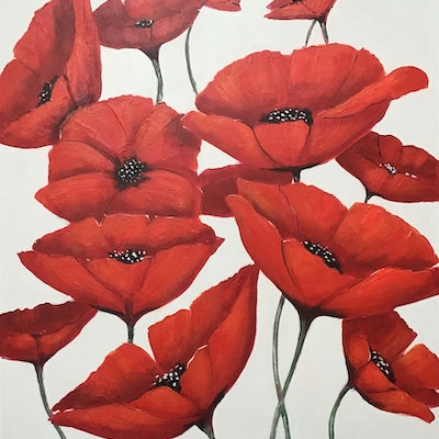 (CreativeWork) Poppies  by Ron Brown. Acrylic Paint. Shop online at Bluethumb.