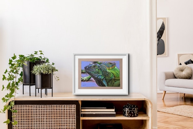(CreativeWork) Green Iguana by Kelly Batsiokis. Drawings. Shop online at Bluethumb.