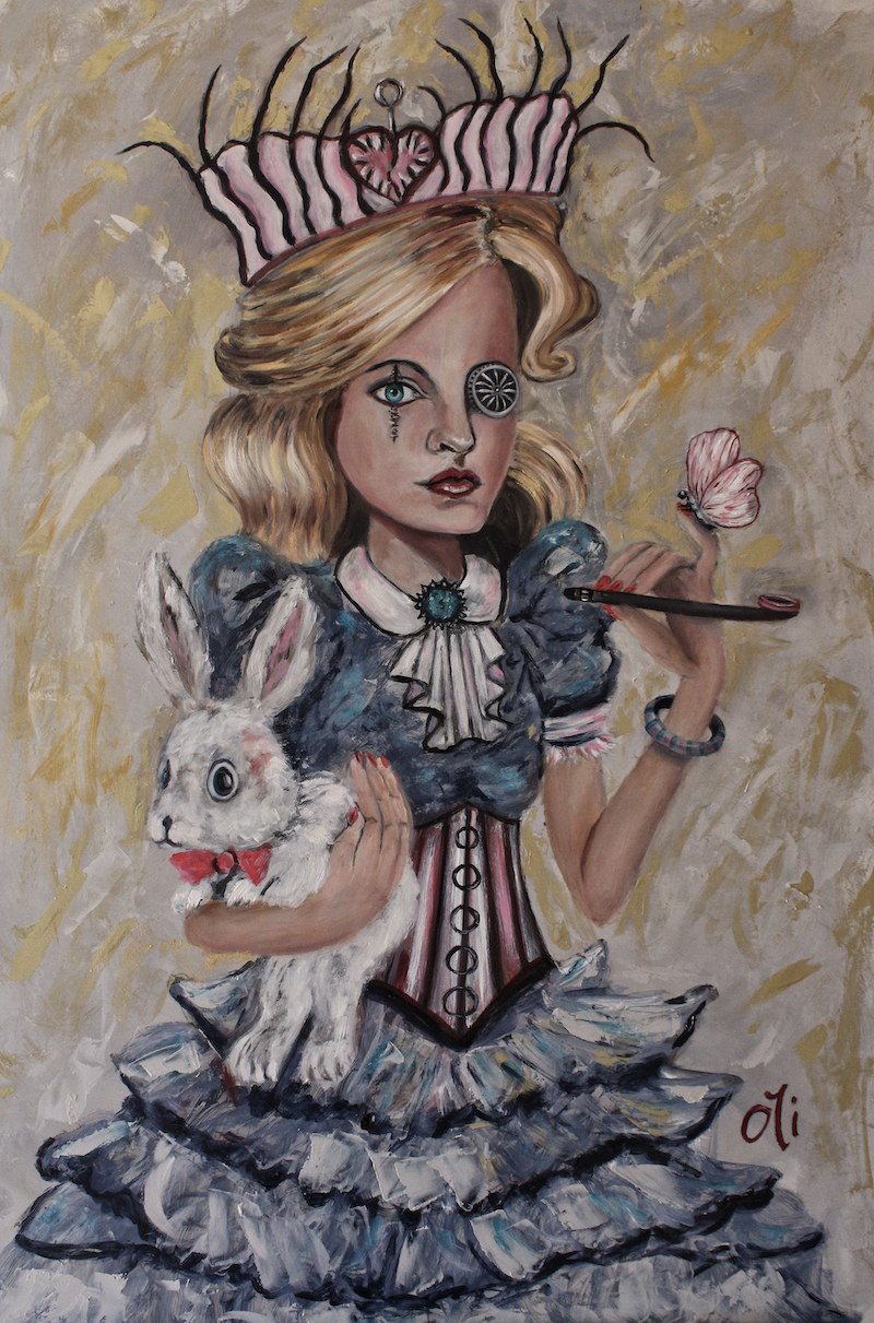 (CreativeWork) Smoking Alice #2 by Olwyn (Oli) Conrau. Oil Paint. Shop online at Bluethumb.