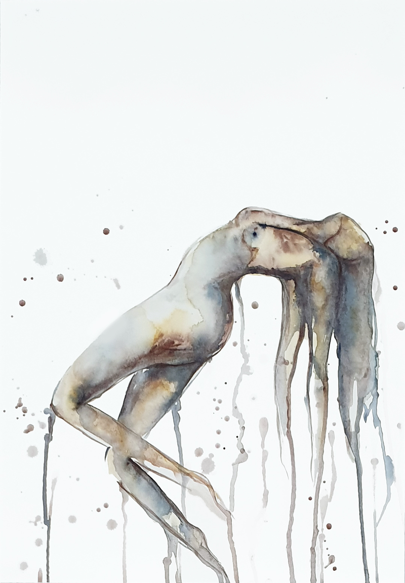 (CreativeWork) And So I Rise (Watercolour Nude with Matte Board Mount) by Leni Kae. Watercolour Paint. Shop online at Bluethumb.