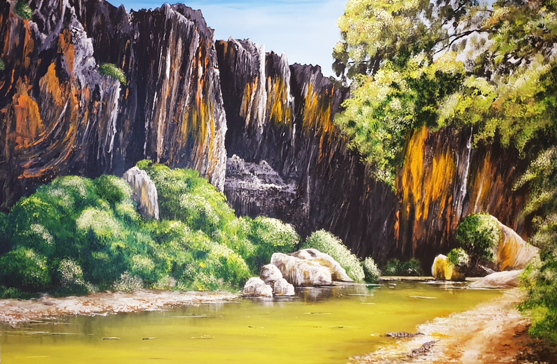 (CreativeWork) Widjana Gorge  by Heather Murchie. Acrylic Paint. Shop online at Bluethumb.
