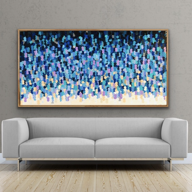(CreativeWork) L'orage 200x102 framed large abstract  by Sophie Lawrence. Acrylic Paint. Shop online at Bluethumb.