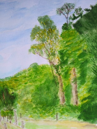 (CreativeWork) Red Hill Reserve by Leonid Gaisinovitch. Watercolour Paint. Shop online at Bluethumb.