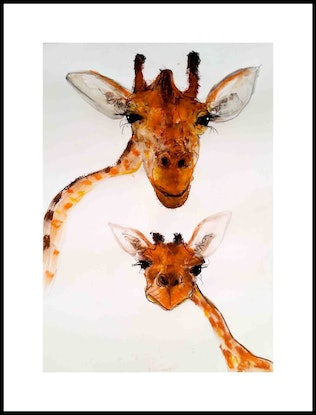 (CreativeWork) Giraffe - Mother and Child series by John Graham. Mixed Media. Shop online at Bluethumb.