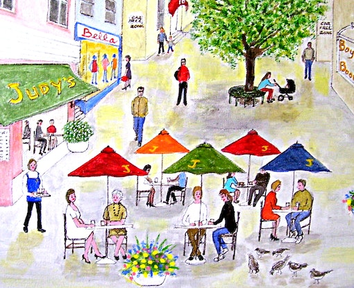 "(CreativeWork) ""Perfect Plaza"" Original Busy Cityscape Naive Figurative  Folk Painting 32 x 29 cm  by Fran Caldwell. Acrylic Paint. Shop online at Bluethumb."
