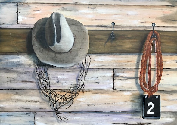 (CreativeWork) Hang up your Hat by Dianne Fix. Oil Paint. Shop online at Bluethumb.