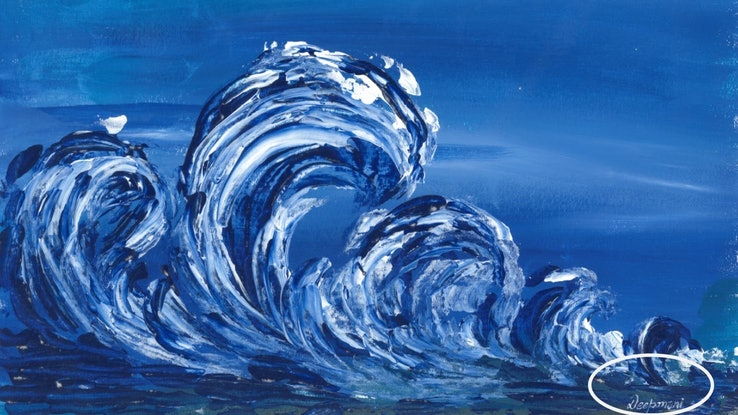 (CreativeWork) Dancing Waves - Abstract  by Deepmani -. Acrylic Paint. Shop online at Bluethumb.