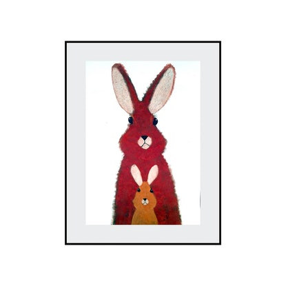 (CreativeWork) Rabbit - Mother and child series  by John Graham. Mixed Media. Shop online at Bluethumb.