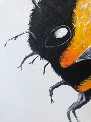 (CreativeWork) Boris the bee  by Rose Goodwin. Acrylic Paint. Shop online at Bluethumb.