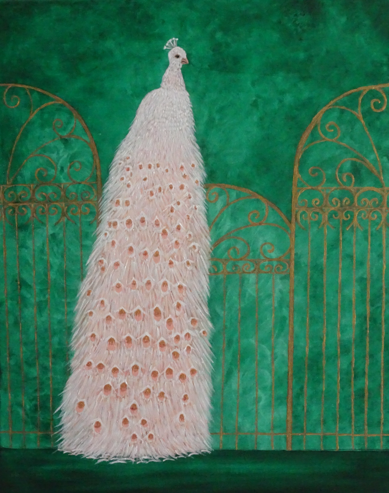 (CreativeWork) Peacock on a Gilded Fence  by Julie-Anne Gatehouse. Acrylic Paint. Shop online at Bluethumb.