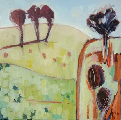(CreativeWork) HINTERLAND by Karen McPhee. Oil Paint. Shop online at Bluethumb.