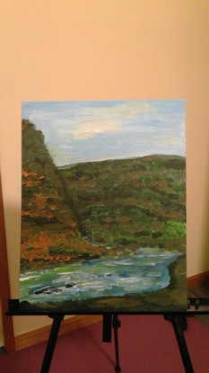 (CreativeWork) Rapid through the Gorge by David William Pyke David William Pyke. Acrylic Paint. Shop online at Bluethumb.