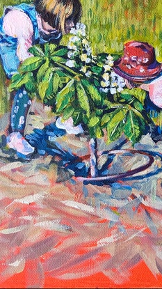 (CreativeWork) Forest 4 Horse-Chestnut tree, Kids and Bloms by Valentyna Crane. Acrylic Paint. Shop online at Bluethumb.