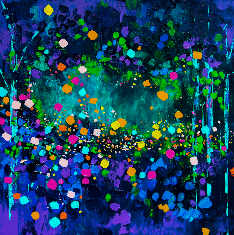 (CreativeWork) Chasing Fireflies by Eve Izzett. Acrylic Paint. Shop online at Bluethumb.