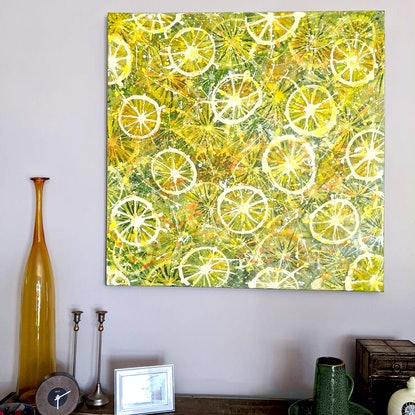 (CreativeWork) Fruit Punch - abstract pattern by Nicky (Nibs) Courtman. Acrylic Paint. Shop online at Bluethumb.
