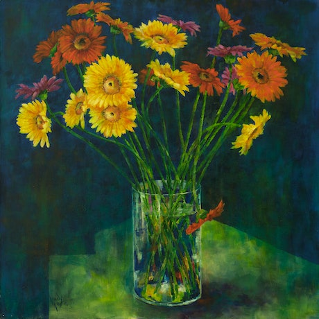 (CreativeWork) 'GERBERAS ON BLUE' by Wendy Wooden. Oil Paint. Shop online at Bluethumb.