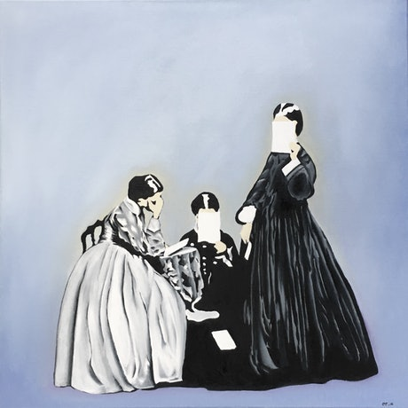 (CreativeWork) Mourning women by Olga Tsara. Oil Paint. Shop online at Bluethumb.