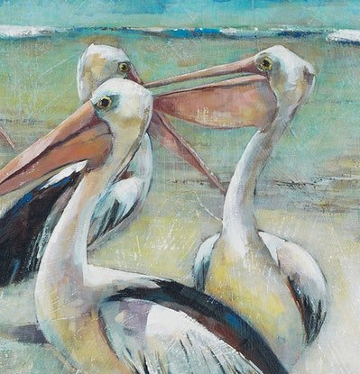 (CreativeWork) 'NARRABEEN PELICANS' Ed. 8 of 100 by Wendy Wooden. Print. Shop online at Bluethumb.