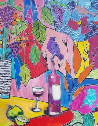 (CreativeWork) Wine Time  by Debra Sutton. Acrylic Paint. Shop online at Bluethumb.