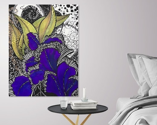 (CreativeWork) Purple Iris -Limited Edition Giclee Print - 4/250 Signed and Numbered. Ed. 4 of 250 by Tania Daymond. Print. Shop online at Bluethumb.