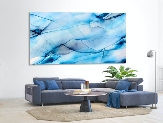 (CreativeWork) Misty Mountain - large 2metre x 1 metre blues turquoise abstract by __pete+chrissy angelheart. Mixed Media. Shop online at Bluethumb.