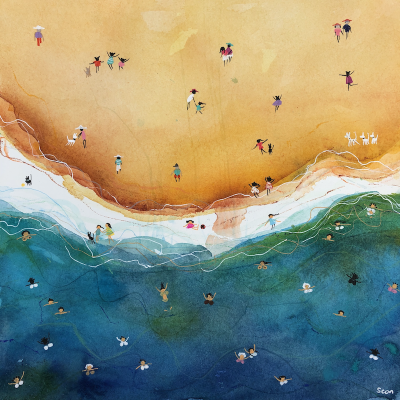 (CreativeWork) Sea Of Love by Sonia Dickson. Watercolour Paint. Shop online at Bluethumb.