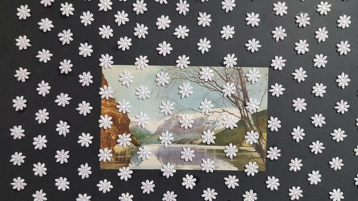 (CreativeWork)  Love Walking in Snow - Collage by Karen Coull. Mixed Media. Shop online at Bluethumb.