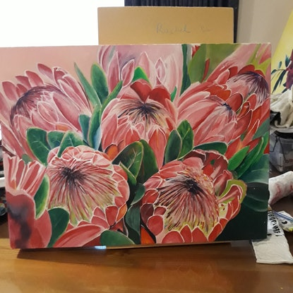 (CreativeWork) Pretty Proteas by Rachael Charalambous. Acrylic Paint. Shop online at Bluethumb.