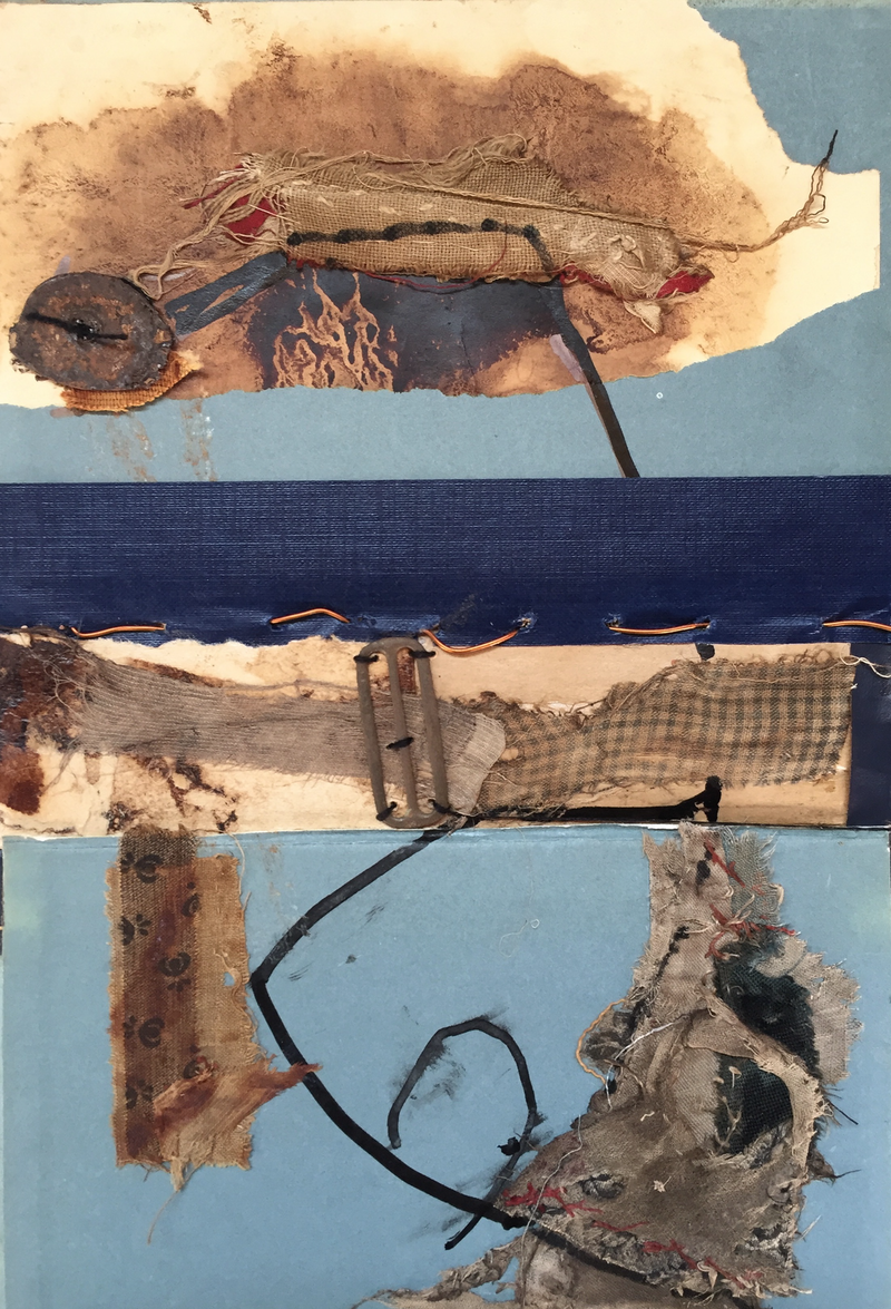 (CreativeWork) Gleaning along the Seine.  Mixed Media, Drawing, Collage, Painting.    by Jenny Davis. Mixed Media. Shop online at Bluethumb.