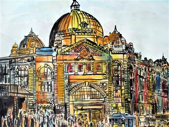 (CreativeWork) Flinders street station 2007 by Marie Afram. Watercolour Paint. Shop online at Bluethumb.