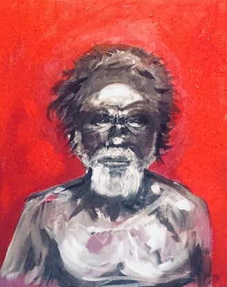 (CreativeWork) Old man by Geoff Lugg. Acrylic Paint. Shop online at Bluethumb.