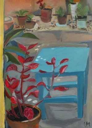 (CreativeWork) Blue tabouret and a plant by Liza Merkalova. Oil Paint. Shop online at Bluethumb.