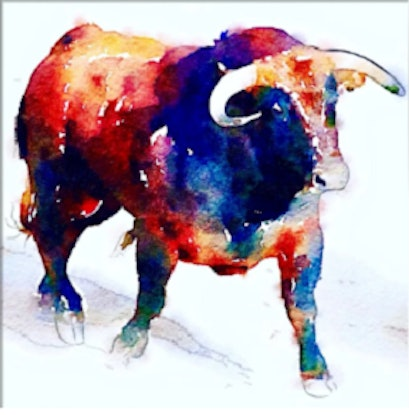 (CreativeWork) Colourful Bull by Shabs Beigh. Mixed Media. Shop online at Bluethumb.