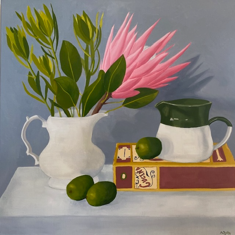 (CreativeWork) Protea in White Jug by Amanda Ogilby. Oil Paint. Shop online at Bluethumb.