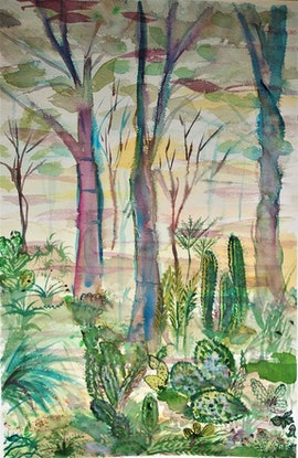 (CreativeWork) Botanic garden by Marie Afram. Watercolour Paint. Shop online at Bluethumb.