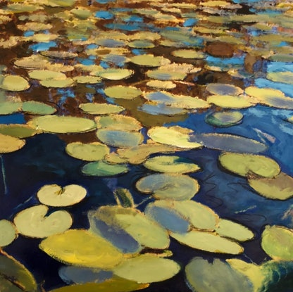 (CreativeWork) Monet's Pond (Autumn) by Shabs Beigh. Acrylic Paint. Shop online at Bluethumb.