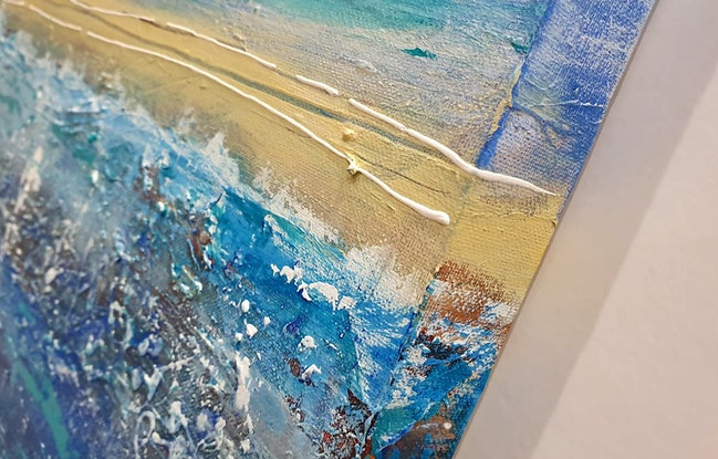 (CreativeWork) Summer days at the Beach by Kathie Nichols. Mixed Media. Shop online at Bluethumb.